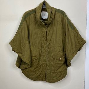 Anthro Hei Hei Olive Green Cape Poncho Coat Small